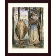 Global Gallery 'The Cowherd (La Vachere)' by Camille Pissarro Framed Painting Print Size: