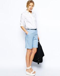 ASOS Linen Shorts In Longline