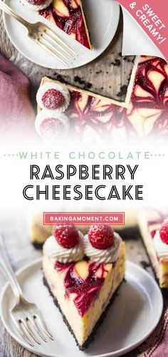 White Chocolate Raspberry Cheesecake: OMG wow!! This was so good- sweet white chocolate, tangy raspberry, and a crunchy Oreo crust. So creamy delicious! #whitechocolate #raspberry #cheesecake #recipe #easy #factory #olivegarden #best #bar #squares #oreocrust #copycat #videos #video #creamcheeses #desserts #parties #holidays #food #valentines #simple #superbowl #sweettreats #christmas #bakingamoment Best Dessert Recipes, Fun Desserts, Delicious Desserts, How To Make Cheesecake, Cheesecake Recipes, White Chocolate Raspberry Cheesecake, Videos Video, Raspberry Recipes, Oreo Crust