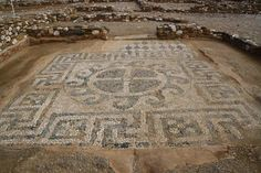 Mosaic in the ruins of Olynthos, Halkidiki, Greece