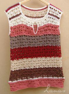 (Crochet) Sometimes I buy yarn to make a project I have in mind; Crochet Woman, Love Crochet, Knit Crochet, Crochet Classes, Crochet Magazine, Crochet Blouse, Crochet Fashion, Knit Patterns, Pattern Fashion