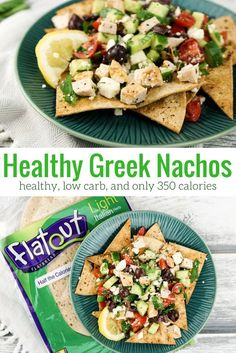 Healthy Greek Nachos - Slender Kitchen. Works for Clean Eating, Gluten Free, Low Carb and Weight Watchers® diets. 346 Calories.