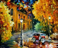 TOWN - PALETTE KNIFE Oil Painting On Canvas By Leonid Afremov