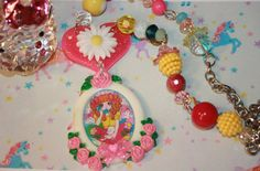 50% off SALE Anime Girl necklace Pink Roses  Pretty colors of spring and summer Bright Glitter heart Lolita Manga japan