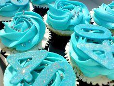 Turquoise 40th birthday cupcakes