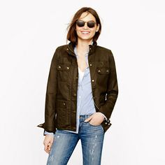 J.Crew - The downtown field jacket Looks better on and with the adjusted waist tabs. Petite S? or XXS?