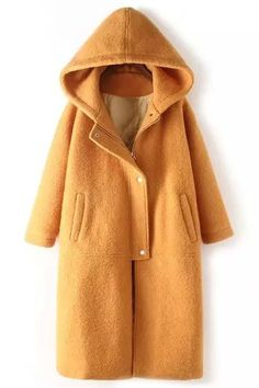 Pure Color Hooded Long Sleeve Pure Coat