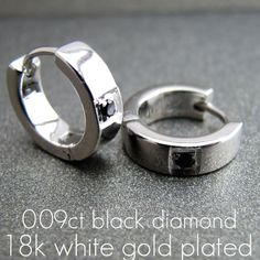 40cad6569e8 Mens Single Black Diamond Earring White Gold by 360JewelsElite