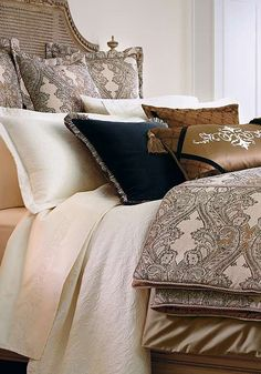 Warm your master suite with the beautiful Deveraux Bedding Collection that features neutral colors graced by scrolling vines.