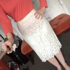 Cream Lace Skirt size 6 This is a smaller 6 but in perfect condition. It's from a boutique, and only been worn once. Midi length. Skirts Midi