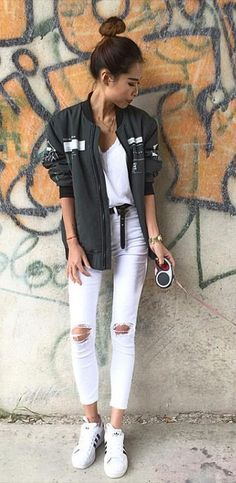 White street casual look with black bomber