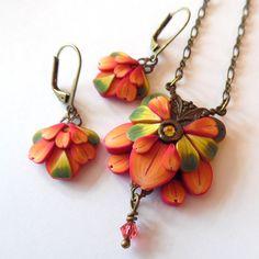 Orange Art Nouveau Flower Pendant Polymer Clay by Claybykim