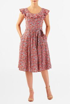 Our floral print crepe dress with a ruffle yoke and pretty flutter sleeves is cinched in with a removable sash tie belt for a totally feminine look. Casual Dresses, Fashion Dresses, Maxi Dresses, 50 Fashion, Fashion Styles, Cotton Frocks, Short Frocks, Frock For Women, Frock Design