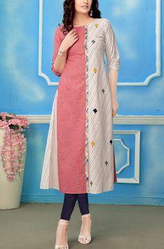 Pink and cream cotton printed kurti Kurta Designs Women, Kurti Neck Designs, Salwar Designs, Blouse Designs, Kurta Patterns, Dress Sewing Patterns, Designer Kurtis Online, Fancy Kurti, Kurti Sleeves Design