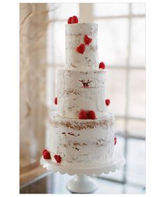 A lot of people don't like the taste of fondant and so the big trend in wedding cakes are naked cakes. This one has just enough frosting to make it look like white birch tree bark. Naked Wedding Cake, Red Wedding, Rustic Wedding, Wedding Cakes, Chic Wedding, Birch Wedding, Wedding Blog, Wedding Colors, Wedding Decor