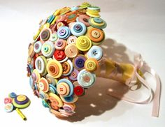 Pastel Button Bouquet / Candy coloured by CharlieLaurieDesigns