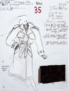 Saint Laurent's sketch of a trench coat for Fall/Winter 1986 haute couture collection