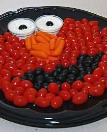 Elmo Veggie Tray! Making Funny Faces With Fruits & Veggies Is Easy & Engages Kids To Want To Eat Them!