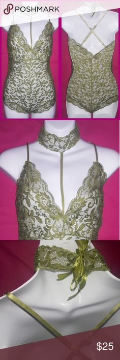 Sheer Green Lace Stretchy Harness Bodysuit Romper New. Sheer Green Lace Stretchy Harness Bodysuit Romper  Stretchy and soft lace one piece bodysuit teddy with connected harness at middle of bust that ties around neck with 2 satin ribbons. True to size. Hand wash lay flat to dry. Intimates & Sleepwear