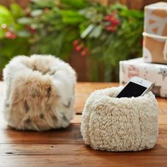 Faux Fur Beanbag Cell Phone Holder | PBteen