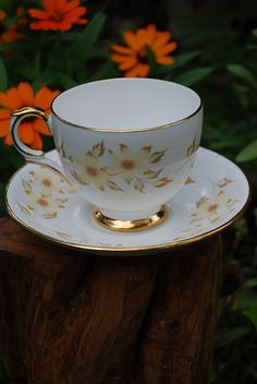 Crown Staffordshire Yellow Floral Cup and Saucer Bone China