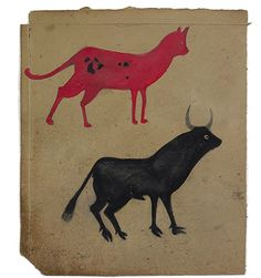 """Bill Traylor (1854-1949). Red Cat, Black Bull. Poster Paint and Pencil on Cardboard. Circa 1939-1942.   15"""" x 12-1/2""""."""