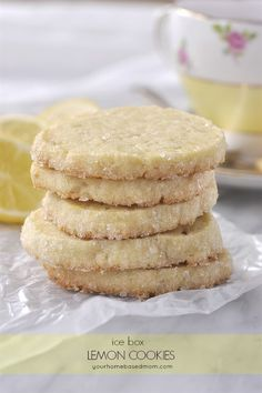 Keep a roll of lemon icebox cookies in the refrigerator for the next time that cookie craving hits ya! Light, lemony and lovely. Lemon Desserts, Lemon Recipes, Cookie Desserts, Just Desserts, Cookie Recipes, Delicious Desserts, Baking Recipes, Dessert Recipes, Yummy Food