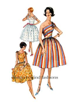 Cocktail, Evening One-Shoulder or Two Party Dress- Fitted Bodice, Full, Circle Skirt -Bust 38- Simplicity 3906 1960s VINTAGE Sewing Pattern