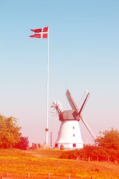 That's typical danish! A flag, a windmill and lovely spring weather. :-)