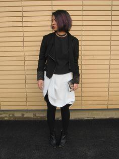 #fashion #streetstyle #blogger monochrome, Jean Pierre Braganza jacket, vintage silver clutch