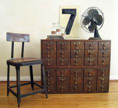 Vintage Card Catalog  30 Drawer Wood Cabinet by twentytimesi