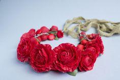 Red Flower Necklace, Wedding Necklace, Jewelry handmade, Bib Necklaces - make to oder by eteniren on Etsy