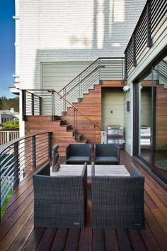 Contemporary Modern Balcony Garden Bungalow Design Ideas: Burlington Horizontal Deck Railing Patio Modern With Exterior Stair Railing, Outdoor Stair Railing, Modern Stair Railing, Balcony Railing Design, Deck Stairs, Modern Stairs, Deck Railings, Glass Railing, Railing Ideas