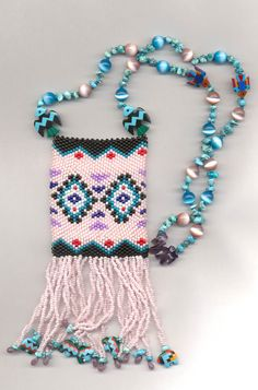 This was my third beaded amulet purse. The pattern, Santa Fe, also comes from Jennie Might's book, Beaded Favors.