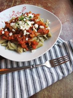Zuccini&tomato pasta with feta-cheese