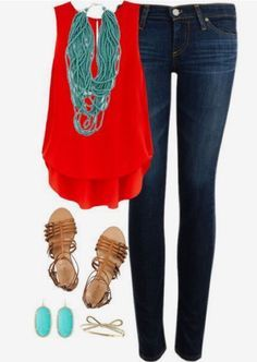Style for over 35 ~ love the red and turquoise!