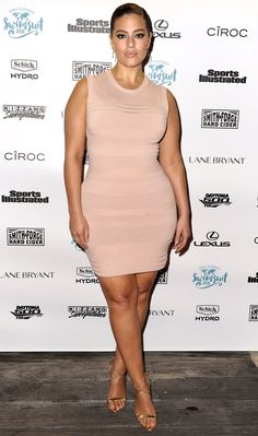 """ASHLEY GRAHAM in a beige sleeveless minidress and gold sandals at Sports Illustrated Swimsuit's """"A Night at Sea"""" VIP Boat Cruise in Miami."""