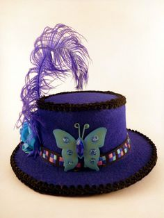 Butterfly Mini Top Hat Blue Mini Hat Rose by AbsolutelyFascinated