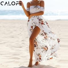 7c55457cf8f CALOFE Boho Print Long Party Dress Women Sexy Off Shoulder Beach Maxi Dress  Summer Strapless Split Sundress Plus Size Vestidos
