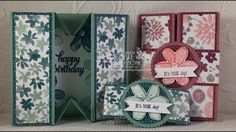 Debbie's Designs: The Box Card Fold & A New Video using Stampin' Up! Garden In Bloom and Blooms & Bliss Designer Paper. Debbie Henderson