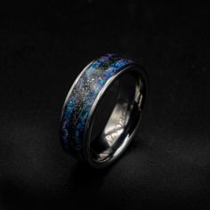 Meteorite Ring, Blue Opal, Red Purple, Wedding Ring Bands, Color Mixing, Rings For Men, Wedding Engagement, Jewelry Rings, Etsy