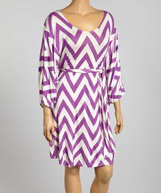 Another great find on #zulily! Poliana Plus Purple Zigzag Dolman Dress - Plus by Poliana Plus #zulilyfinds