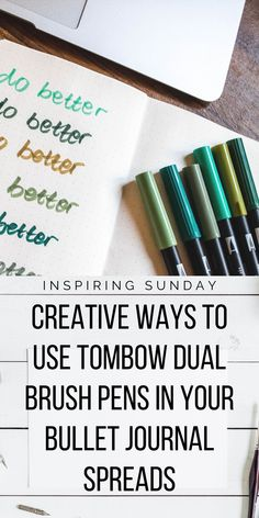find out the best and ways to use tombow dual brush pens in your bullet journal pages. Includes many bujo layout inspirations and how to make them yourself with tombow dual brush pens. Bullet Journal Index, Bullet Journal Student, Bullet Journal Hacks, Bullet Journal Printables, Bullet Journal Spread, Bullet Journal Layout, Bullet Journal Inspiration, Bullet Journals, Journal Ideas