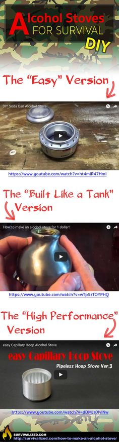 Learn how to make an alcohol stove, 3 easy methods, check it out at http://survivalized.com/how-to-make-an-alcohol-stove/