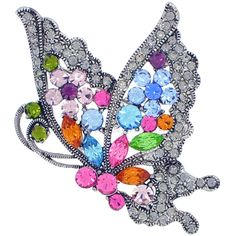 Colorful Swarovski Crystal Flying Butterfly pins Black Insect Pin Brooch