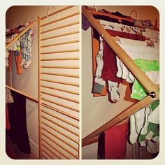 DIY drying rack using a baby gate from FreeCycle. Genius as it folds flat so that homeowner can navigate through the space to put laundry from washer to dryereven with laundry still hanging between rods. Can someone please replicate these and sell to public?! _via Northwest Edible Life