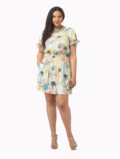Trista Dress In Jungle Floral Print by Corey,  Available in sizes 0X-3X