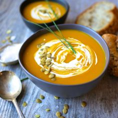 This Curried Butternut Squash and Apple Soup is silky and luscious, with the perfect balance of sweet and spice. A little swirl of maple-sweetened sour cream takes it over the top. I feel like it w…