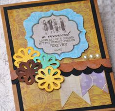 Handmade blank friendship card Punched flowers by PaperSimplicity