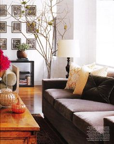 living rooms - antique, beveled, mirrors, brown, velvet, sofa, yellow, brown, velvet, cushions, throw pillows, coffee table, black, lamp, living room, brown couch, brown sofa, velvet sofa, velvet couch, brown velvet sofa, brown velvet couch,